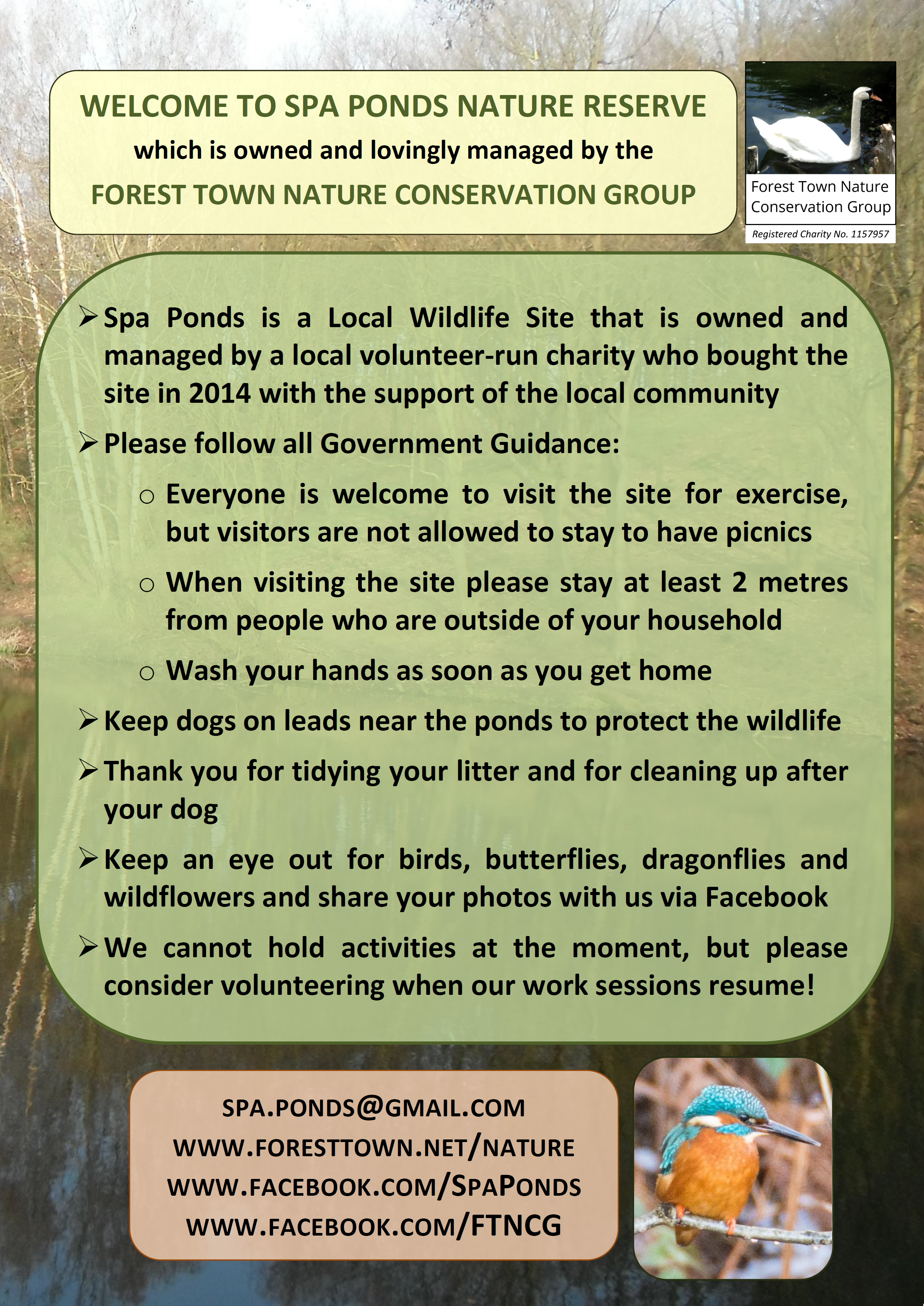 Please follow Government guidelines when visiting Spa Ponds. This is a wildlife site, so please tidy up your litter and keep your dogs on their leads near the ponds.